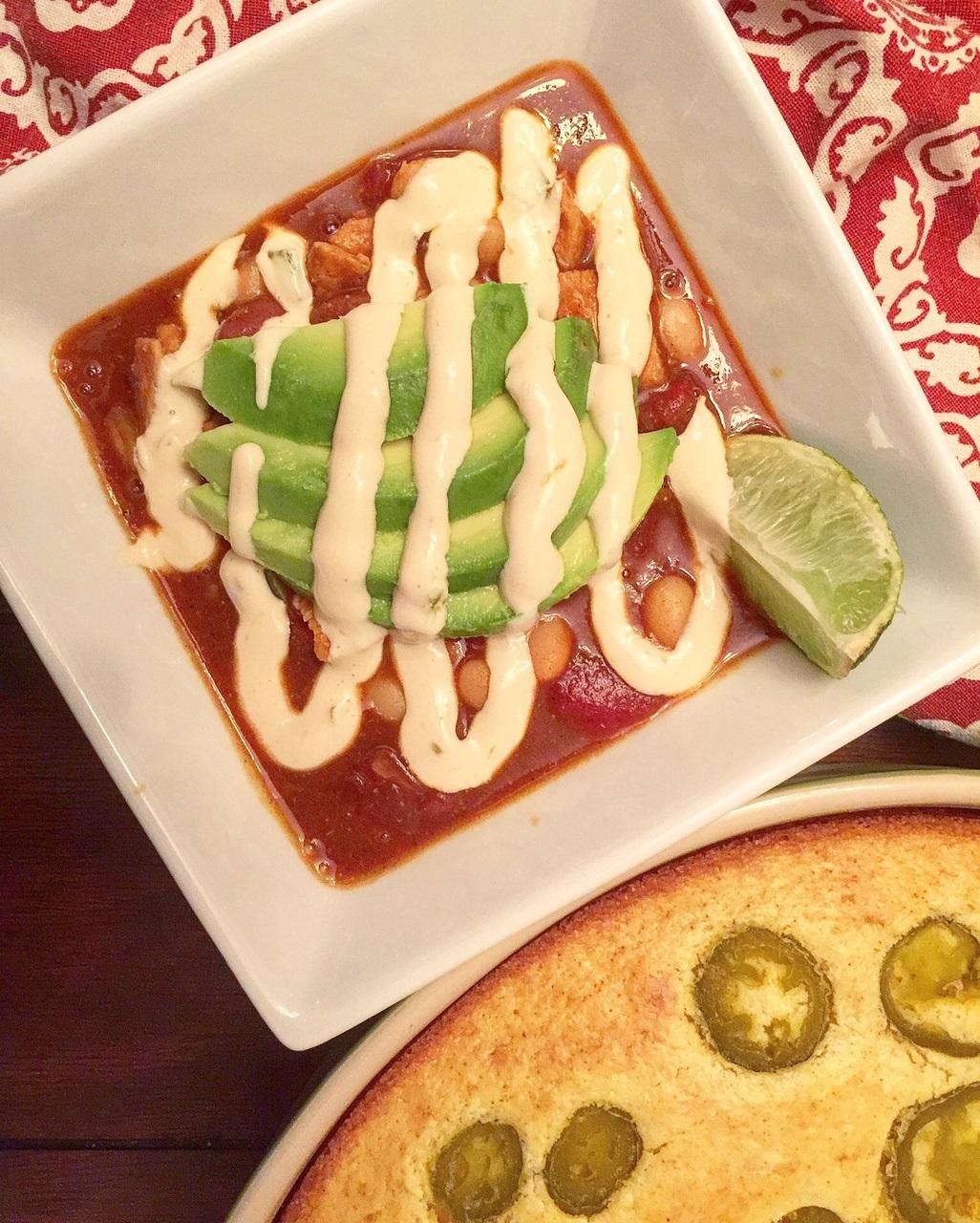queso-chili-with-sour-cream-cornbread