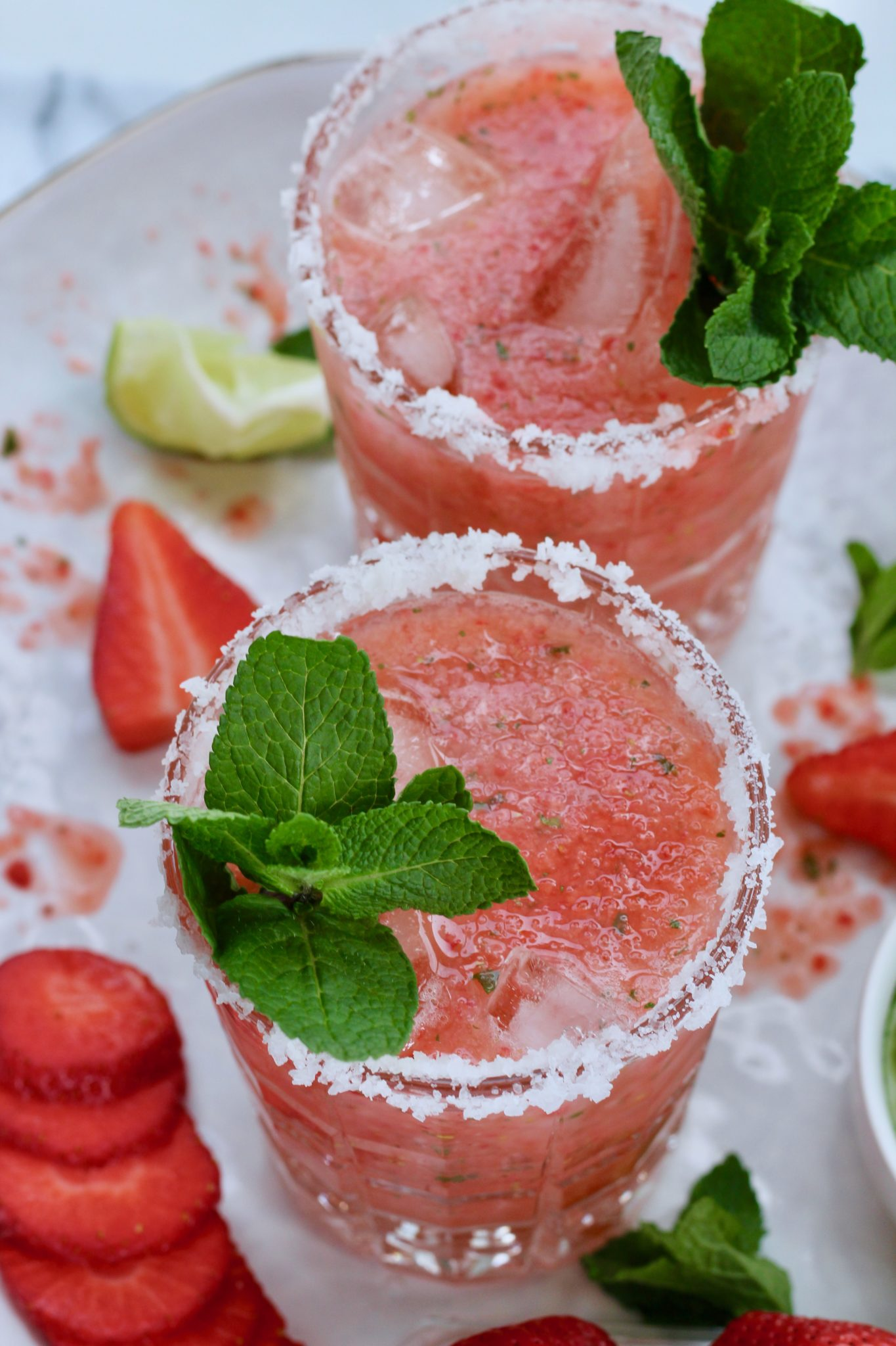 The Most Refreshing Strawberry Margarita Recipe With Mint Slice Of Jess
